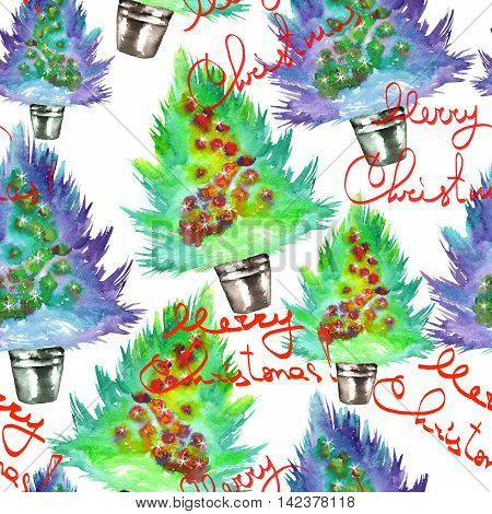Seamless pattern with a green Christmas tree with the toys (balls) painted in watercolor on a white background with inscriptions
