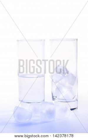Studio picture of glass of water with ice cubes (with clipping path)