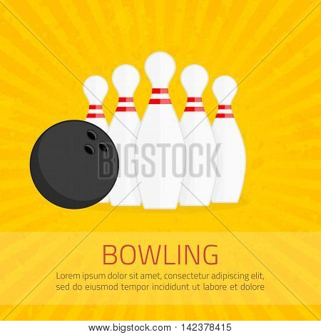 Bowling poster with ball and bowling pins in flat style. The pattern of the advertisement, invitation to the game. Layered vector EPS 10 available.