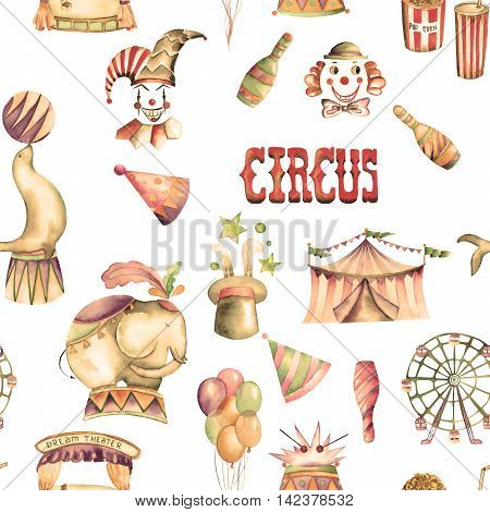 A seamless pattern with the watercolor retro hand drawn circus elements: air balloons, pop corn, circus tent (marquee), ice cream, circus animals, clowns, Ferris wheel. Painted on a white background