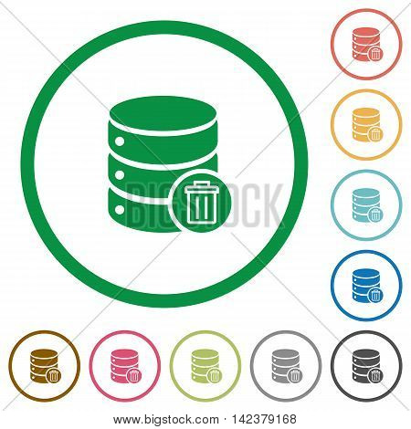 Set of Delete database color round outlined flat icons on white background