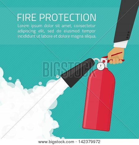 Fire extinguisher in hands. Fire protection illustration. Fire-prevention announcement concept in flat style.