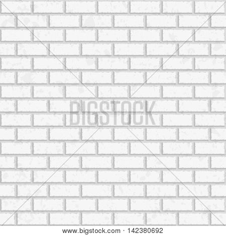 White seamless brick wall. Vector, seamless texture pattern. Interior brick wall background. Tiled pattern for continuous replicate.
