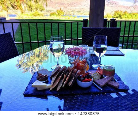 Breakfast with view at Osoyoos British Columbia Canada.