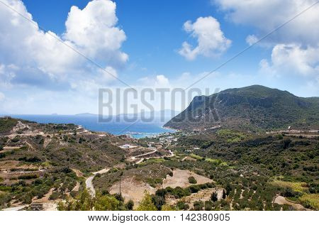 Overlooking view to Kos island landscape, Greece