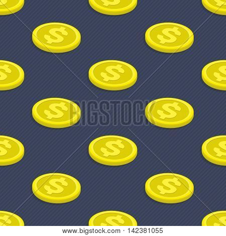 Seamless pattern gold coins. Modern background of gold coins with dollar sign. Tiling financial backdrop. Seamless texture with golden money.