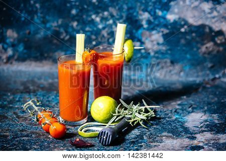 Vodka Beverage, Bloody Mary Cocktail With Cherry Tomatoes And Basil