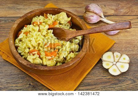 Healthy Food: Pilaf with Meat and Rice. Studio Photo
