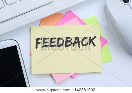 Feedback Contact Customer Service Opinion Survey Business Concept Review Desk