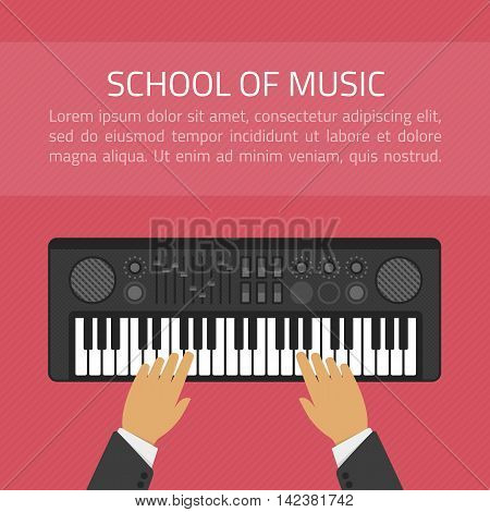 The concept infographic or an advertising banner for the music school, learning the game on the synthesizer. Piano Keyboard Synthesizer in flat style. Sound musical piano. Keyboard.