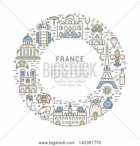 France and Paris City concept. Symbols isolated on background. Web banner with scooter wine architecture cycle and culture thing. Vector label or emblem.