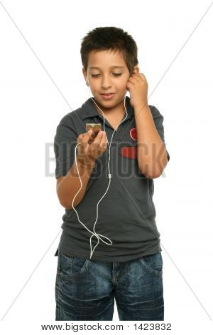 Cool Boy Listening Music With A Mp4 Player