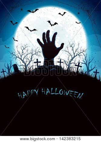 Halloween blue night background with full Moon, bats and a hand in the cemetery, illustration.