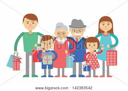 Family vector illustration flat style people mother father daughter son grandparents grandmother grandfather isolated on white background. Big family on holiday shopping with bags and gifts boxes.