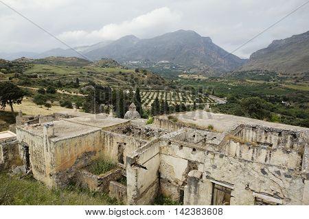 Ruins of Lower monastery at Preveli, Crete