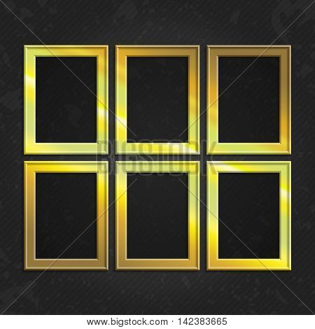 Set of gold wooden frames. Wooden square picture frames of gold color set for your web design. Abstract colorful picture frames on vintage background. Vector set of yellow photo frames on the wall.