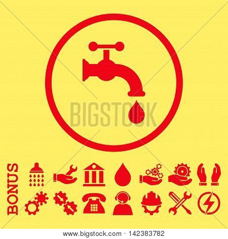 Water Tap vector icon. Image style is a flat pictogram symbol inside a circle, red color, yellow background. Bonus images are included.