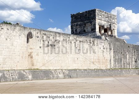 Ruins of Chichen Itza Ball court, Yucatan, Mexico.