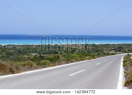 Road near the Mediterranean  sea, Rhodes, Greece
