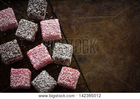 Rustic Raspberry and Chocolate Lamingtons from Above on a Rack Horizontal with Copy Space