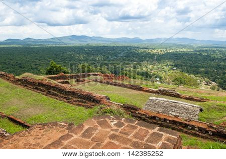 Landscape view from the top of Sigiriya Lion mountain