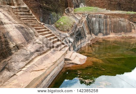 Ruins of ancient fortress on the top of Sigiriya Lion mountain