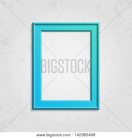 Realistic, blue picture frame isolated on vintage background. Modern frame on a wall vector background design for your content. Realistic frame for photos or the text. Modern realistic frame.
