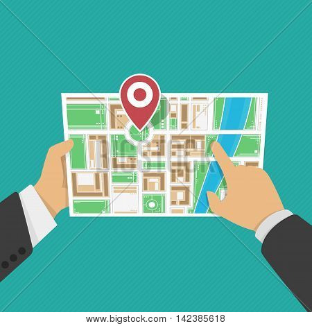Paper Map In Hand in flat style. Vector Illustration of cartoon hands hold folded map of city a location marker. Location map, gps navigation, direction, positioning, travel destination concepts.