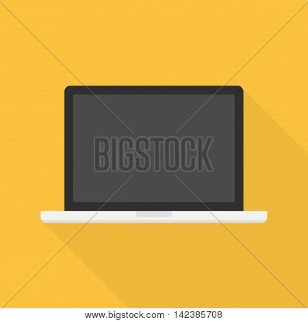 Laptop flat icon whit long shadow. Modern vector laptop illustration on a yellow background.