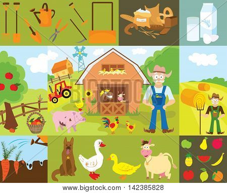 Big set of cartoon characters and elements of the farm. Buildings, people, livestock, animals, cars, trees, vegetables, fruits, inventory. Isolated on white background.