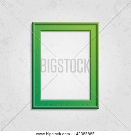 Realistic picture frame isolated on white background. Green frame. Bright frame on a wall vector background design for your content. Realistic frame for photos or the text. Modern realistic frame.