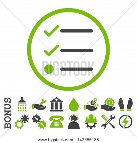 Checklist vector bicolor icon. Image style is a flat pictogram symbol inside a circle, eco green and gray colors, white background. Bonus images are included.