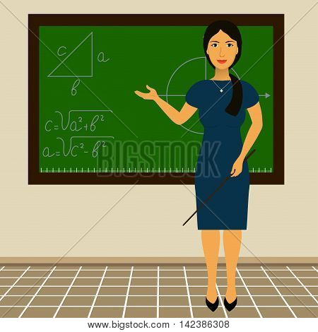 teacher standing at the blackboard with a pointer in his hand