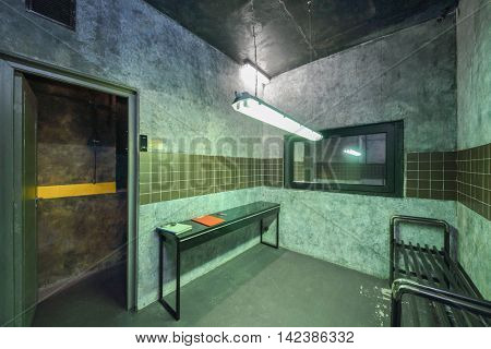 MOSCOW, RUSSIA - MAR 11, 2015: Location, X-Files, Zone -51, interior of one of the rooms reality Mistikum quests studio