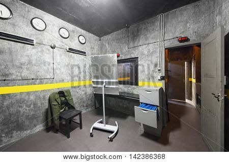 MOSCOW, RUSSIA - MAR 11, 2015: Interior of one of rooms reality Mistikum quests studio