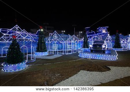 MOSCOW, RUSSIA - NOV 28, 2014: City of fairy tales at  Exhibition Centre, New Year at Exhibition Center, main rink country