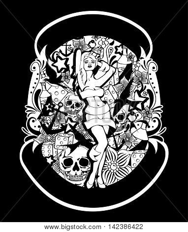 Tattoo styled illustration with pin up girl, skulls, flowers, play dice, ship anchors, bottles, ribbons and ornaments.
