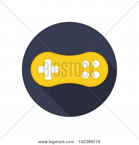 Vector gamepad icon with long shadow. Modern gamer icon.