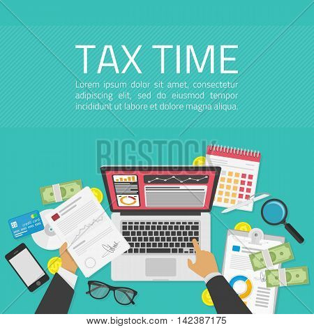 Tax payment concept. State taxes. Vector illustration of Businessman calculation tax return. Businessman calculation tax. Flat design. Tax form vector. Payment of debt or data analysis concept.