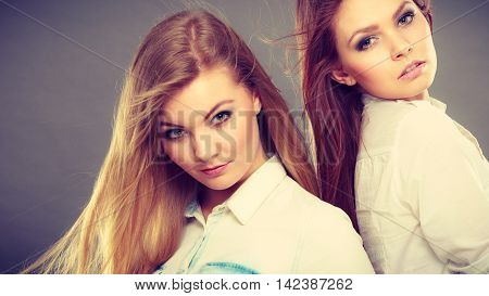 Beauty and fashion of woman. Attractive glamorous stunning girls. Portrait of gorgeous perfect styled trendy women photomodels posing together.