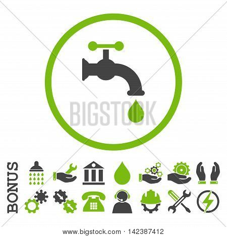 Water Tap vector bicolor icon. Image style is a flat pictogram symbol inside a circle, eco green and gray colors, white background. Bonus images are included.