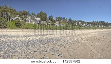 Panoramic view of Oceanside beach and township Oregon.