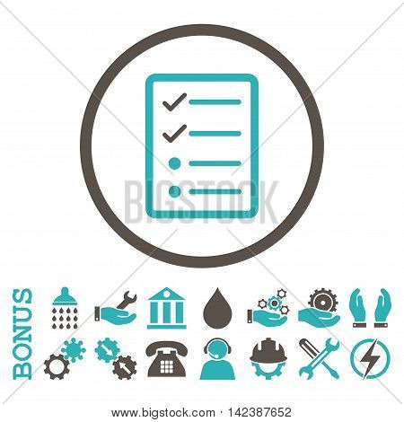 Checklist Page vector bicolor icon. Image style is a flat pictogram symbol inside a circle, grey and cyan colors, white background. Bonus images are included.