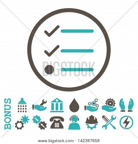 Checklist vector bicolor icon. Image style is a flat pictogram symbol inside a circle, grey and cyan colors, white background. Bonus images are included.