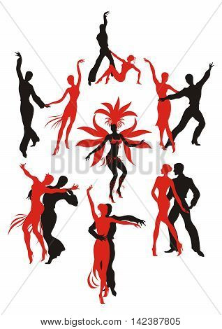 set. red and black silhouettes of the people dancing the Latin American dances