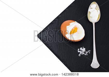 Boiled Egg on Black Background Studio Photo