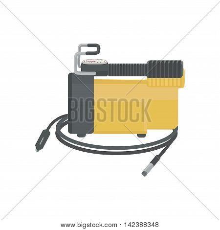Air compressor for car. Auto stuff. Vector illustration.