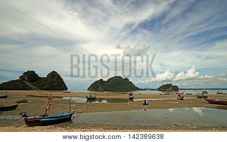 Pile Of Fishing Boat On The Beach