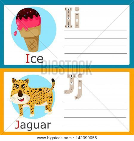 Illustrator of I-J exercise for kid and education