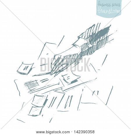 Man drawing plan strategy. Business plan, brainstorm. Concept vector illustration, sketch